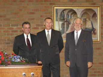 This photo was taken about half an hour before starting the first funeral service in our own chapel when we moved to Main street in 2008. Left to right, my assistant, Graham Conway, me (Stephen Baggs) and our celebrant on that day, Geoff Edwards.
